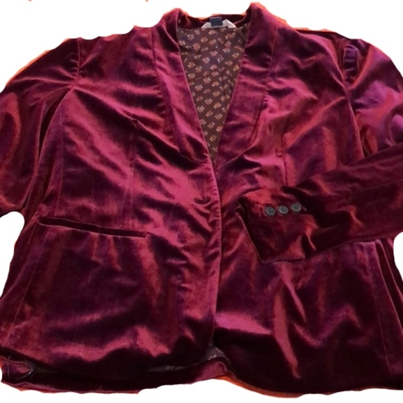 Old Navy Jackets & Blazers - OLD NAVY BURGUNDY VELVET BLAZER
